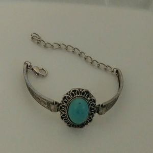 Tribal Silver Plated Small Oval Turquoise Bracelet